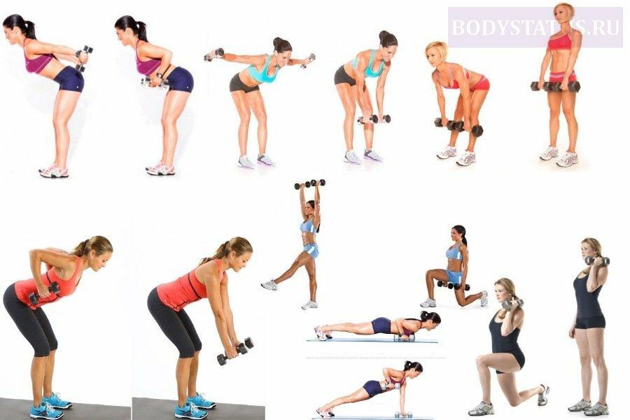 Упражнения с гантелями для женщин фото
